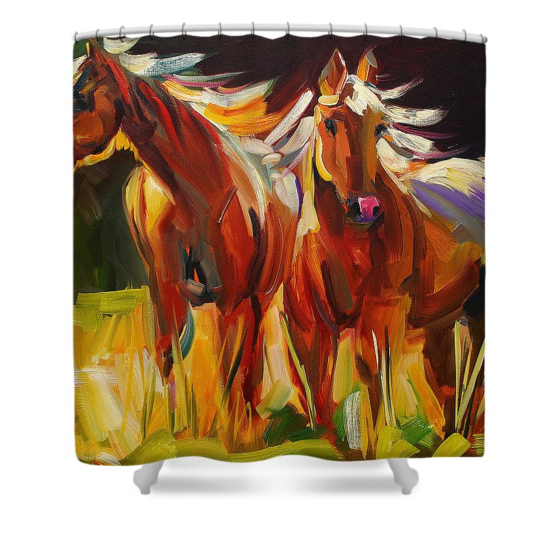 Painting Shower Curtain featuring the painting Two Horse Town by Diane Whitehead