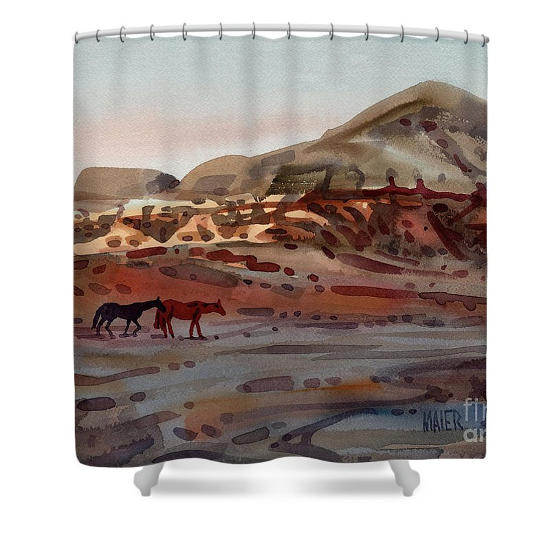 Horses Shower Curtain featuring the painting Two Horses In The Arroyo by Donald Maier