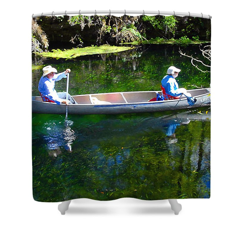 Canoe Shower Curtain featuring the photograph Two In A Canoe by David Lee Thompson