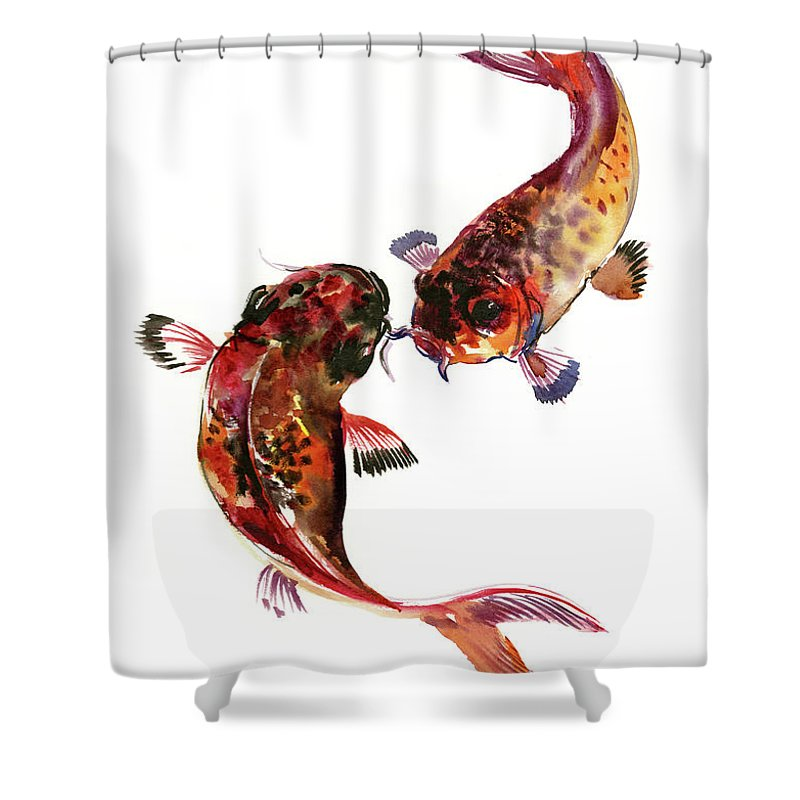 Koi Fish Shower Curtain Featuring The Painting Two Feng Shui Art By Suren