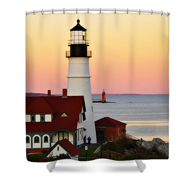 Lighthouse Shower Curtain featuring the photograph Two Lights by Cliff Nixon