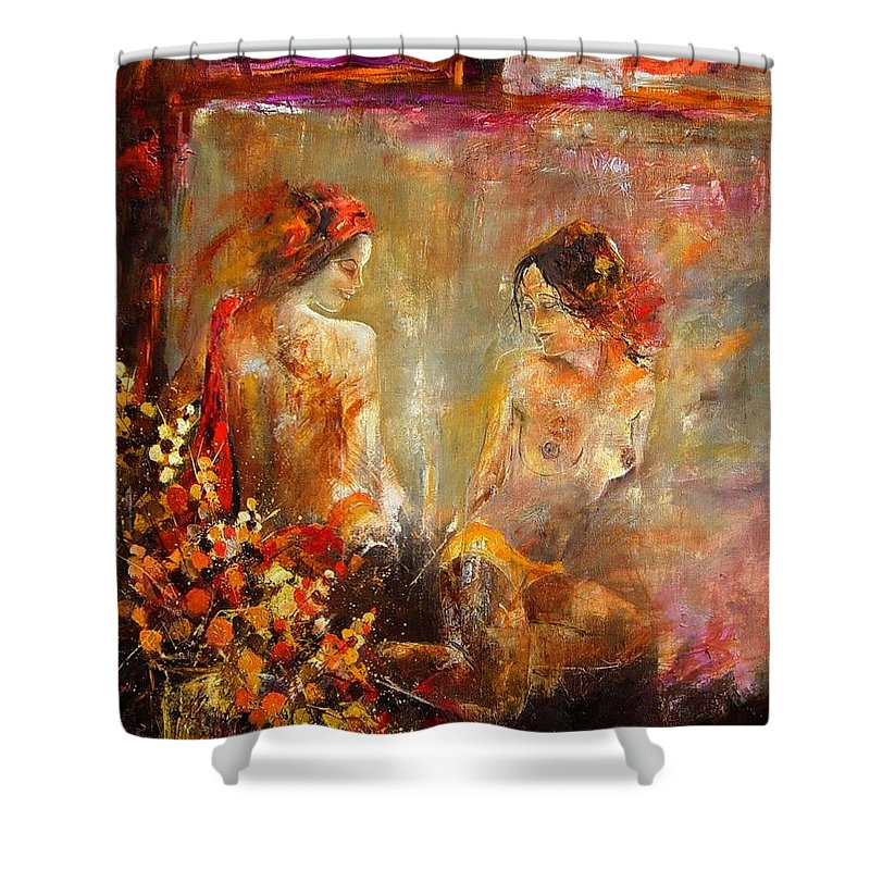 Girl Nude Shower Curtain featuring the painting Two Nudes by Pol Ledent