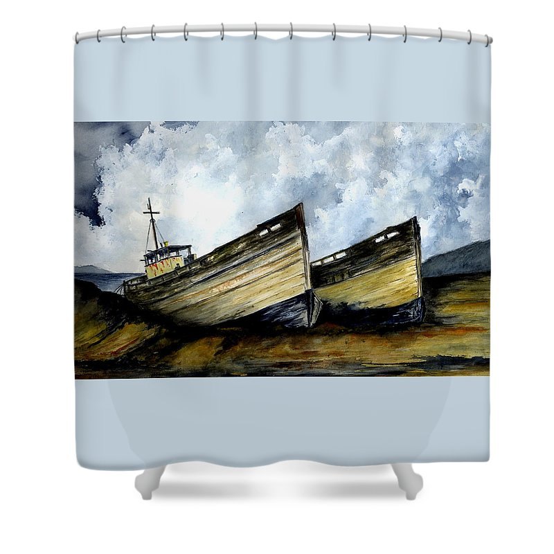 Boats Shower Curtain featuring the painting Two Old Boats by Michael Vigliotti