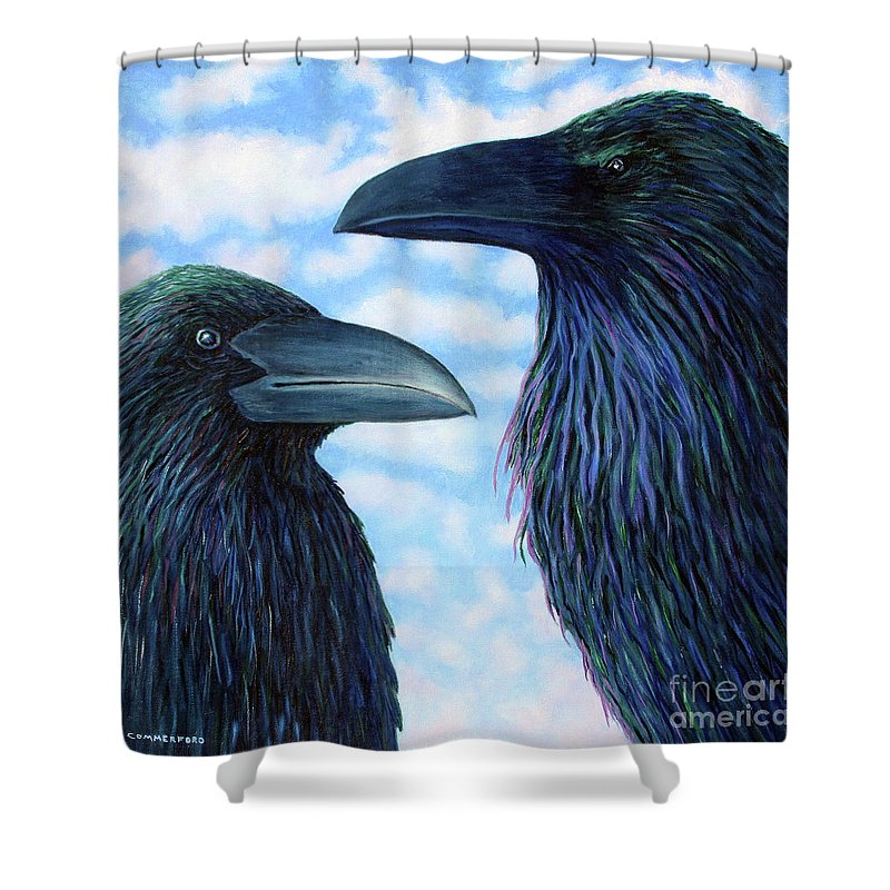 Raven Shower Curtain featuring the painting Two Ravens by Brian Commerford