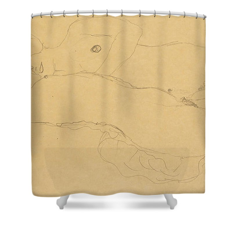 Gustav Klimt Shower Curtain featuring the drawing Two Reclining Girls by Gustav Klimt