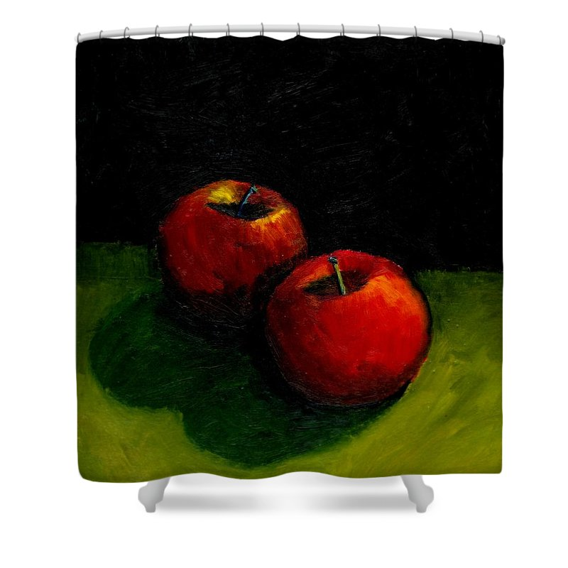 Red Shower Curtain featuring the painting Two Red Apples Still Life by Michelle Calkins