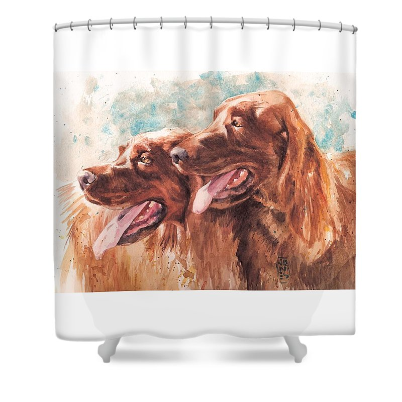 Irish Setter Dog Shower Curtain featuring the painting Two Redheads by Debra Jones