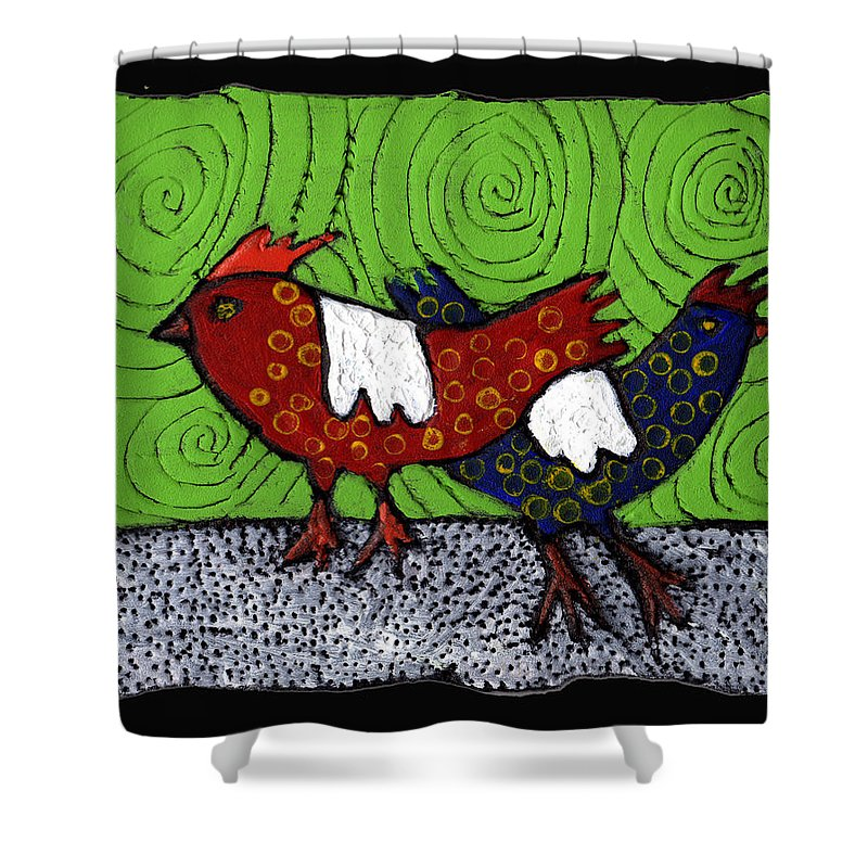 Chickens Shower Curtain featuring the painting Two Roosters by Wayne Potrafka