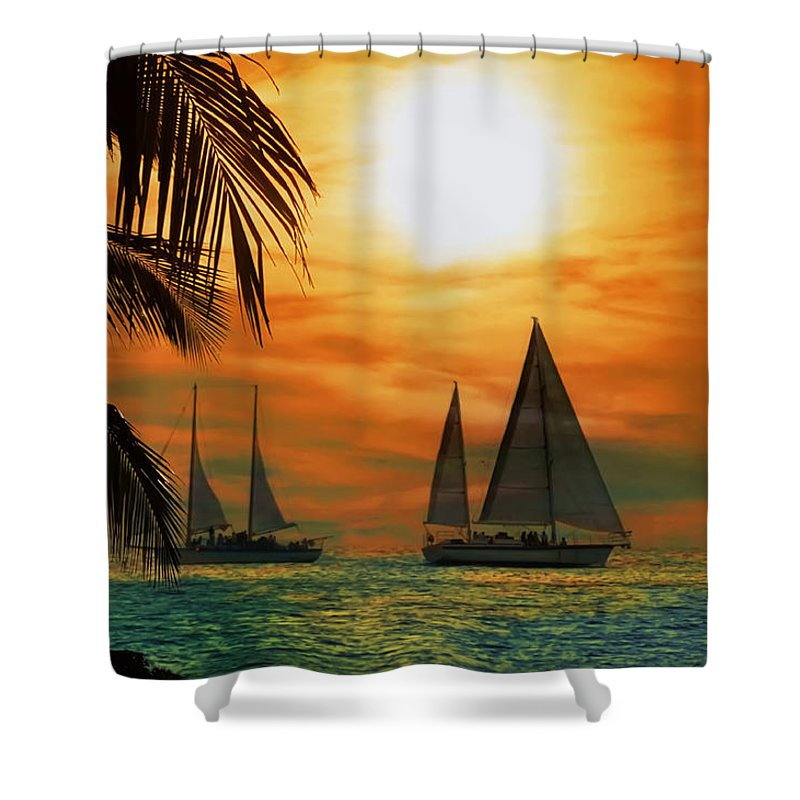 Sail Shower Curtain featuring the photograph Two Ships Passing In The Night by Bill Cannon