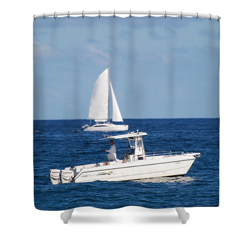 Sea Scape Shower Curtain featuring the photograph Two Ships That Pass Thru The Day by Rob Hans