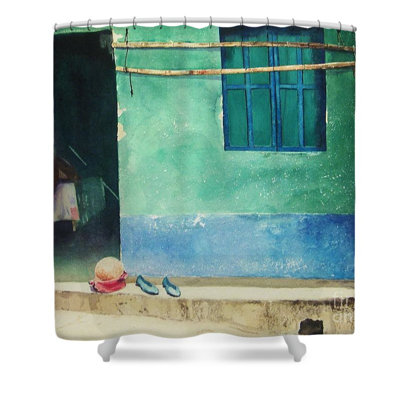 Guatemalan Home Shower Curtain featuring the painting Two Shoes And A Melon by Elizabeth Carr