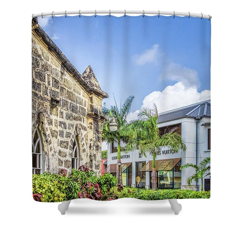 Barbados Shower Curtain featuring the photograph Two Solitudes, Holetown Church And Limegrove Mall, Barbados by Eric Drumm