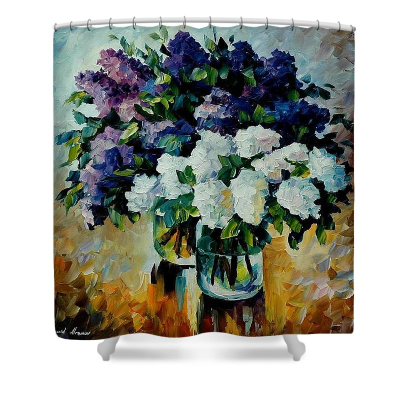 Painting Shower Curtain featuring the painting Two Spring Colors by Leonid Afremov