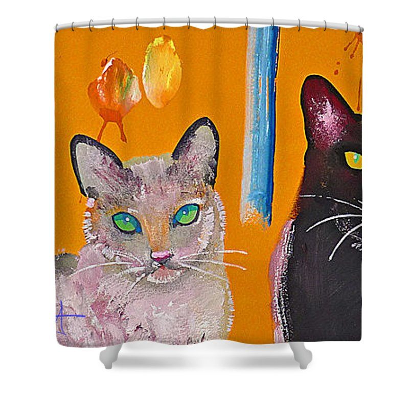 Cat Shower Curtain featuring the painting Two Superior Cats With Wild Wallpaper by Charles Stuart