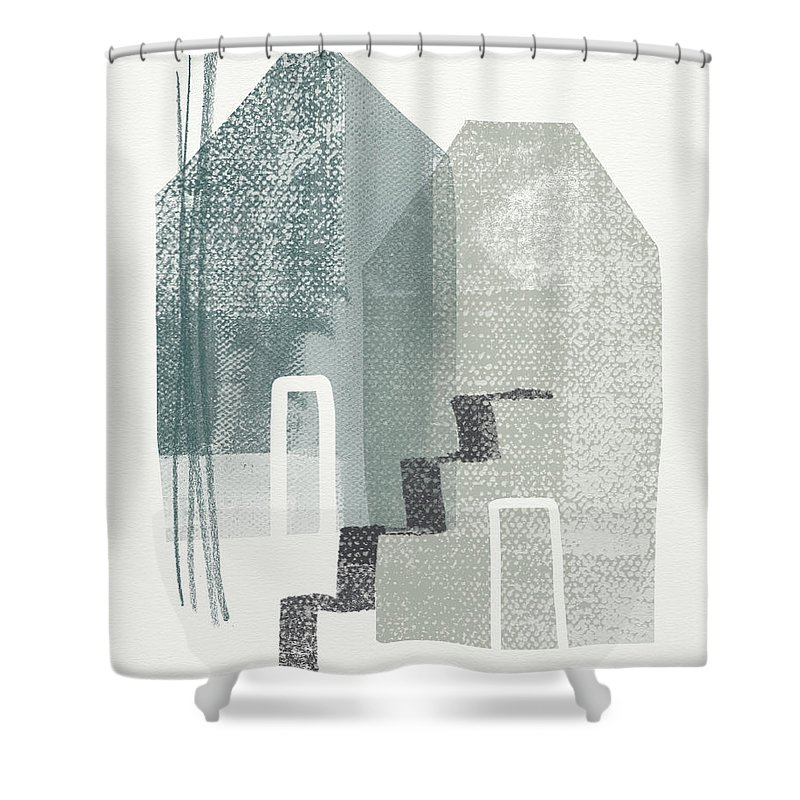 Houses Shower Curtain featuring the painting Two Tall Houses- Art By Linda Woods by Linda Woods