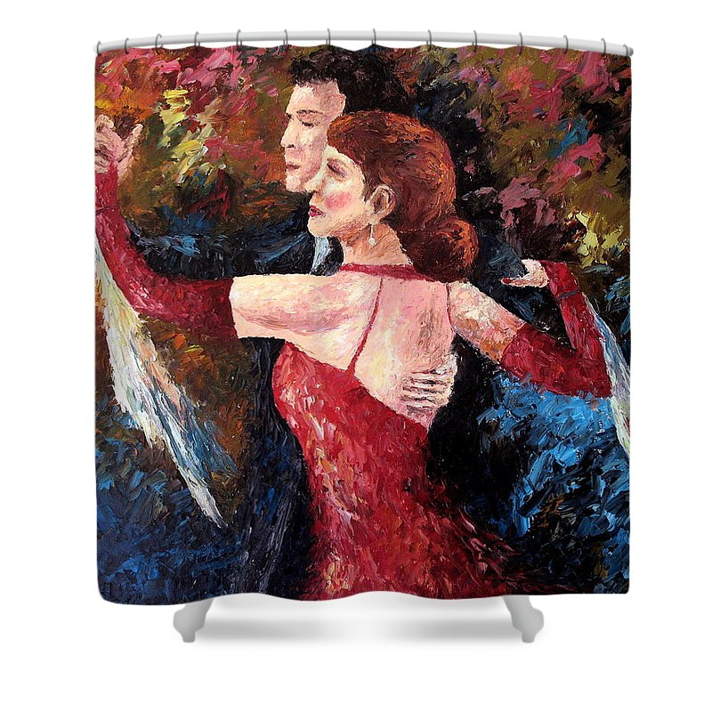 Tango Shower Curtain featuring the painting Two To Tango by David G Paul