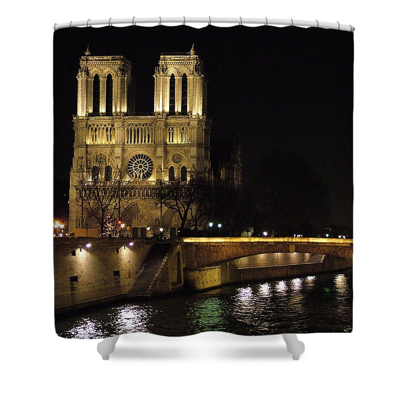 Two Shower Curtain featuring the photograph Two Towers Of Notre Dame by Donna Corless
