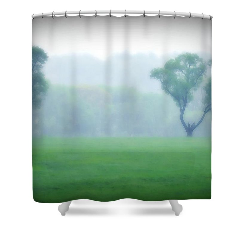 Trees Shower Curtain featuring the photograph Two Trees In The Mist by Bill Cannon