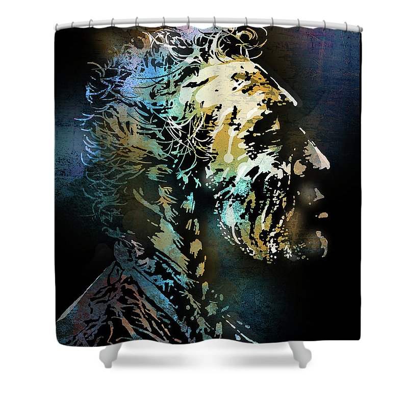 Native Americans Shower Curtain featuring the painting Two Whistles by Paul Sachtleben