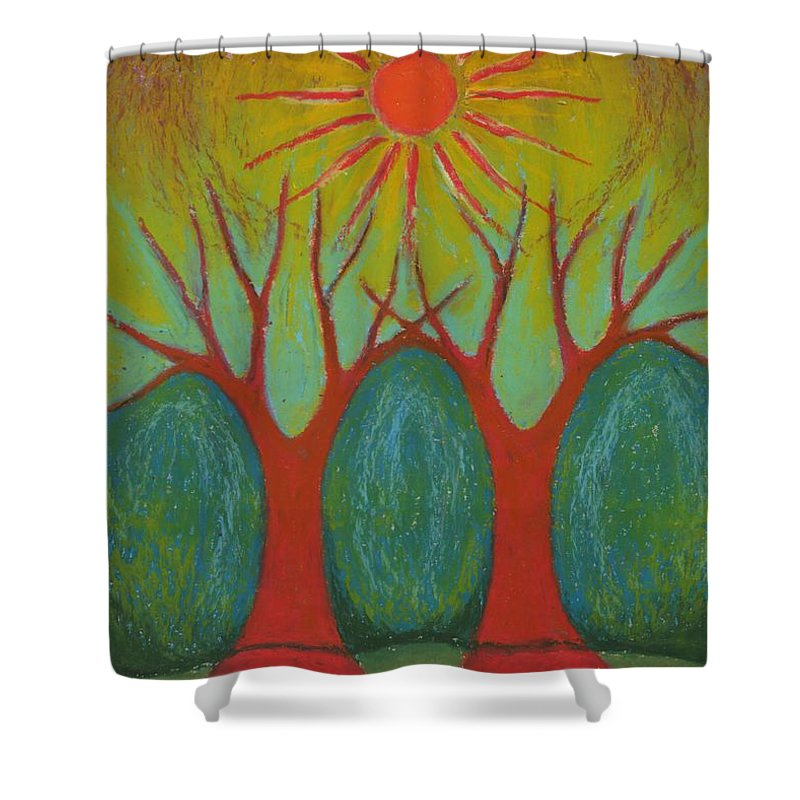 Colour Shower Curtain featuring the pastel Two Worlds by Wojtek Kowalski