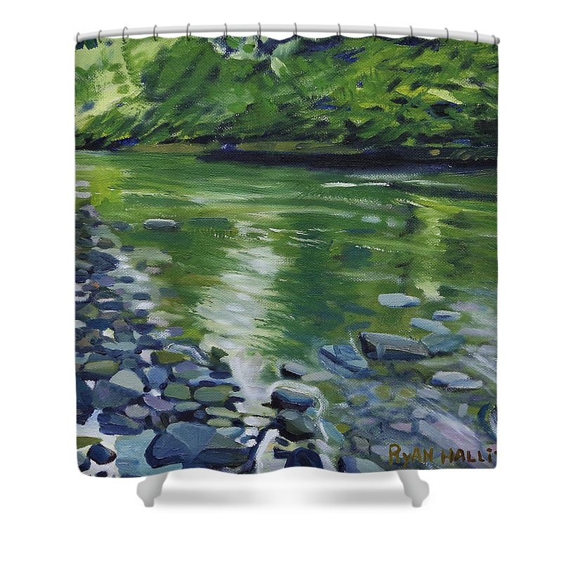 Landscape Shower Curtain featuring the painting Twolick Creek by Ryan Halliwell