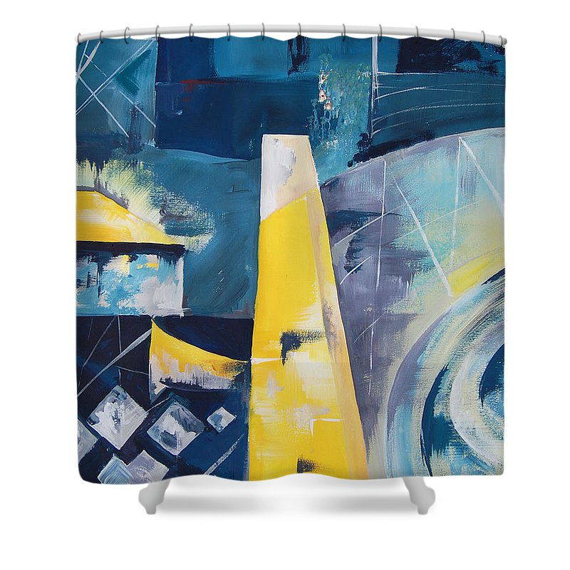 Porto Shower Curtain featuring the painting Twos In Porto #1 by Eszter Benyo