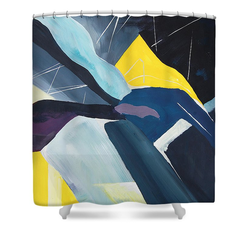Acrylic Shower Curtain featuring the painting Twos In Porto #3 by Eszter Benyo
