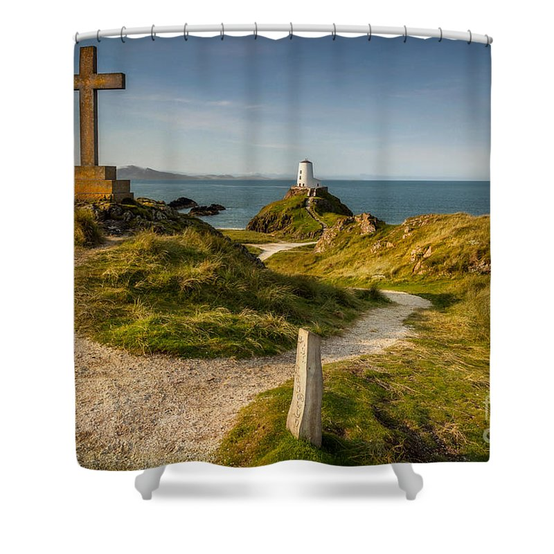 Lighthouse Shower Curtain featuring the photograph Twr Mawr Lighthouse by Adrian Evans