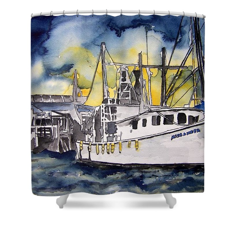 Georgia Shower Curtain featuring the painting Tybee Island Georgia Boat by Derek Mccrea