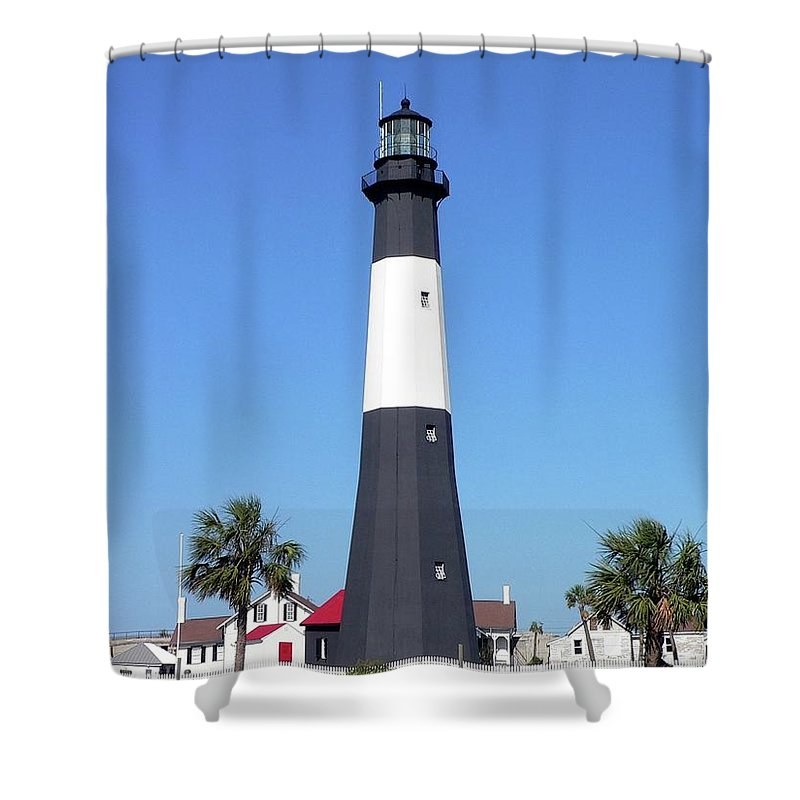 Light Shower Curtain featuring the photograph Tybee Island Light by Al Powell Photography USA