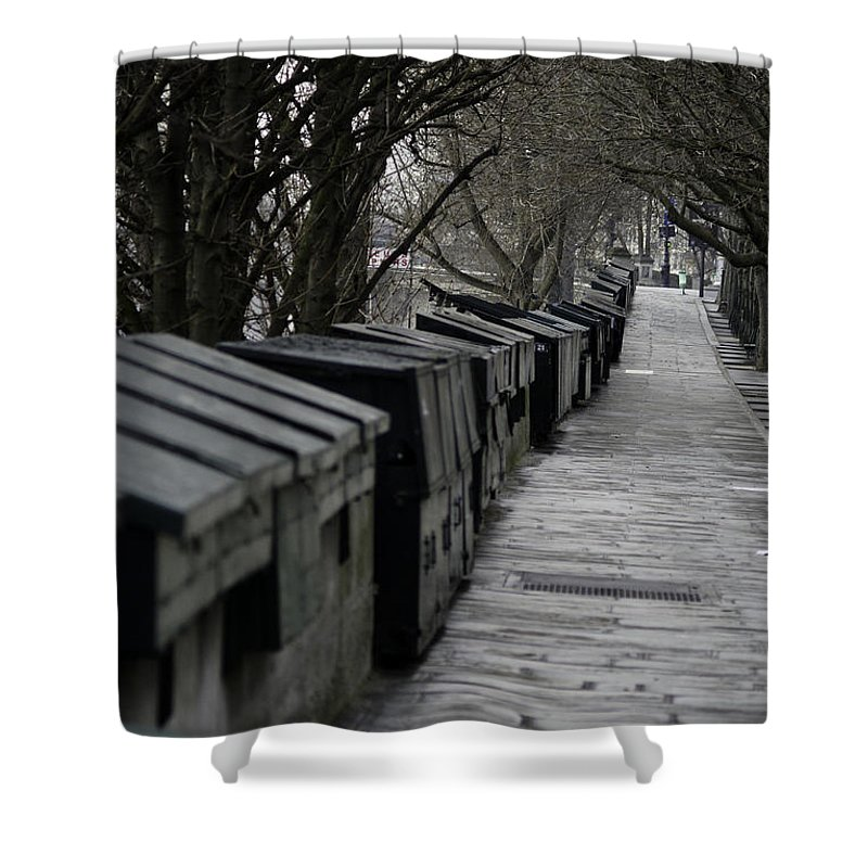 Landscape Shower Curtain featuring the photograph Typical Book Stands Along Seine, Autumn by Maxime Ordureau