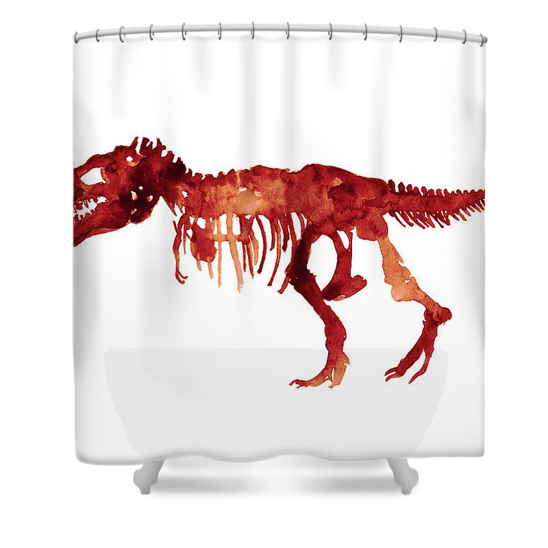 Painting Shower Curtain Featuring The Tyrannosaurus Rex Skeleton Poster T Watercolor