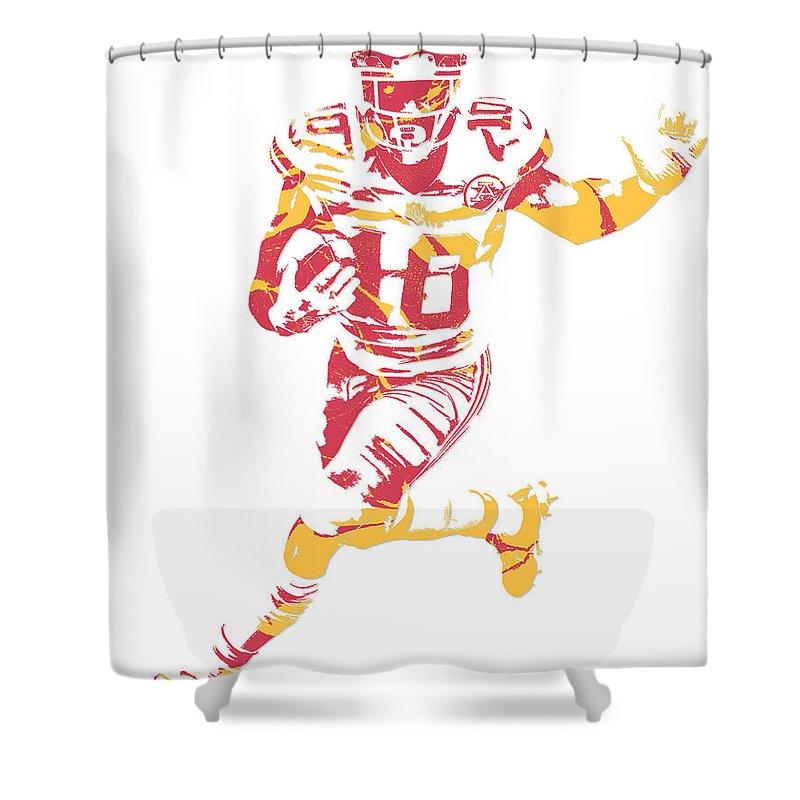 Tyreek Hill Shower Curtain Featuring The Mixed Media Kansas City Chiefs Pixel Art 6