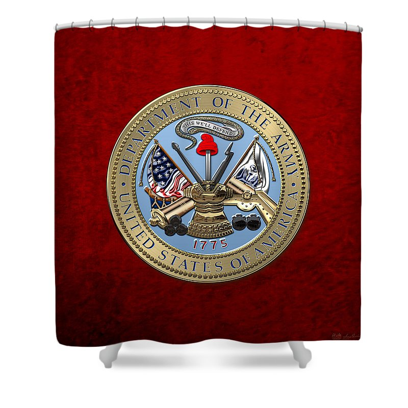 'military Insignia & Heraldry 3d' Collection By Serge Averbukh Shower Curtain featuring the digital art U. S. Army Seal Over Red Velvet by Serge Averbukh
