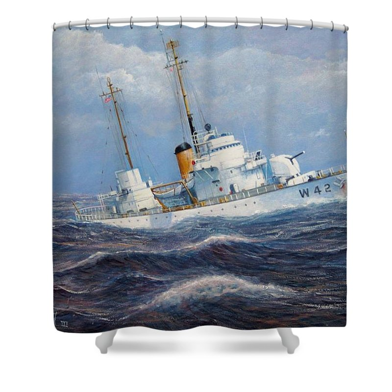 Marine Art Shower Curtain featuring the painting U. S. Coast Guard Cutter Sebago Takes A Roll by William H RaVell III