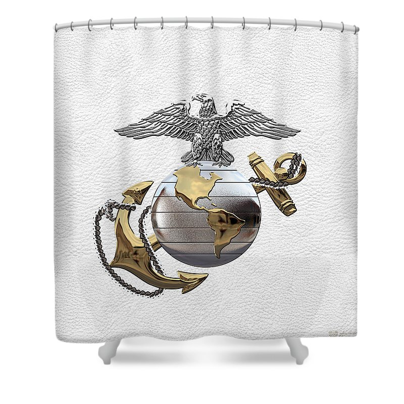 Usmc Collection By Serge Averbukh Shower Curtain Featuring The Digital Art U S M C Eagle Globe