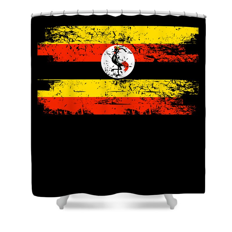 Patriotic Shower Curtain featuring the digital art Uganda Shirt Gift Country Flag Patriotic Travel Africa Light by J P