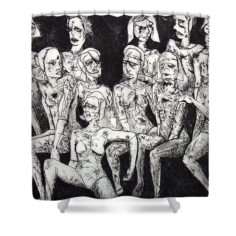 Etching Shower Curtain featuring the print Ugly Girls by Thomas Valentine
