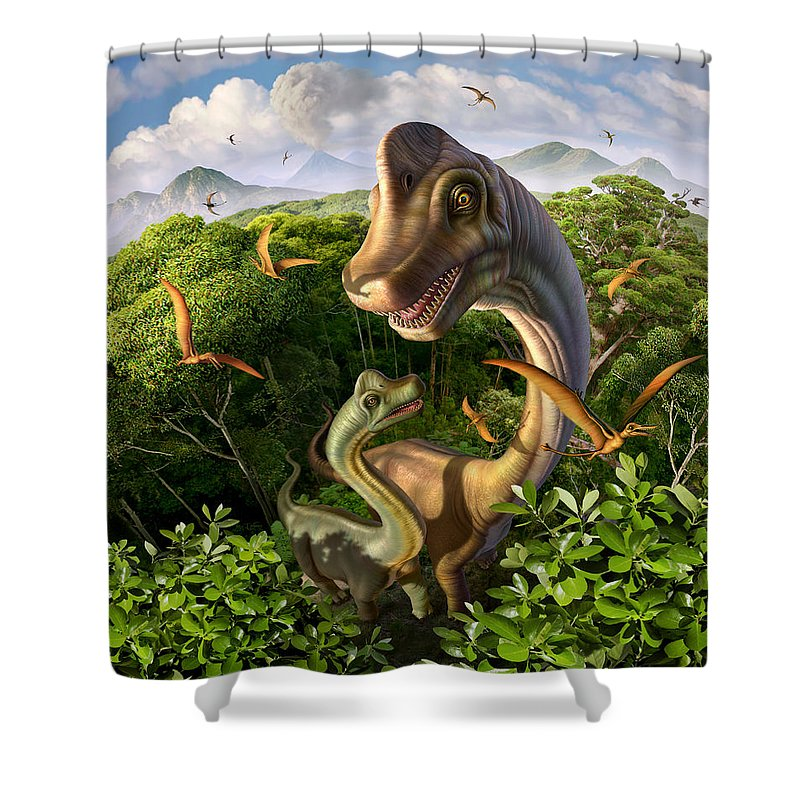 Brachiosaurus Shower Curtain featuring the digital art Ultrasaurus by Jerry LoFaro