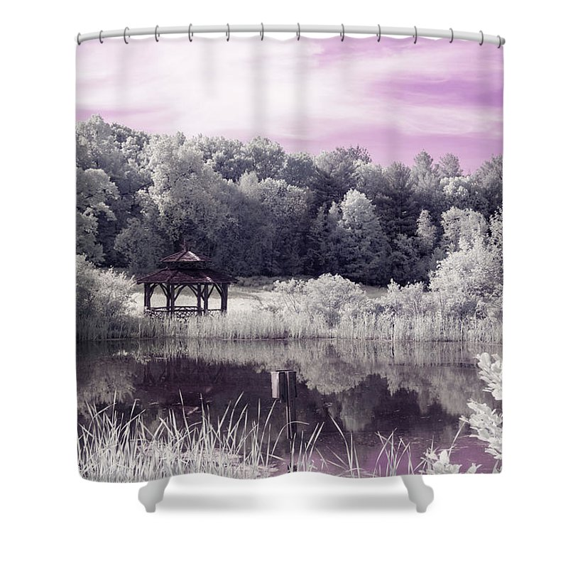 Ir Infrared Infra Red Ma Mass Massachusetts Trees Forest Secluded Foliage Gazebo Pond Brian Hale Brianhalephoto New England Newengland U.s.a. Usa Outside Outdoors Nature Natural Cloudy Sky Uv Ultraviolet Purple Violet Ultra-violet Shower Curtain featuring the photograph Ultraviolet Gazebo by Brian Hale