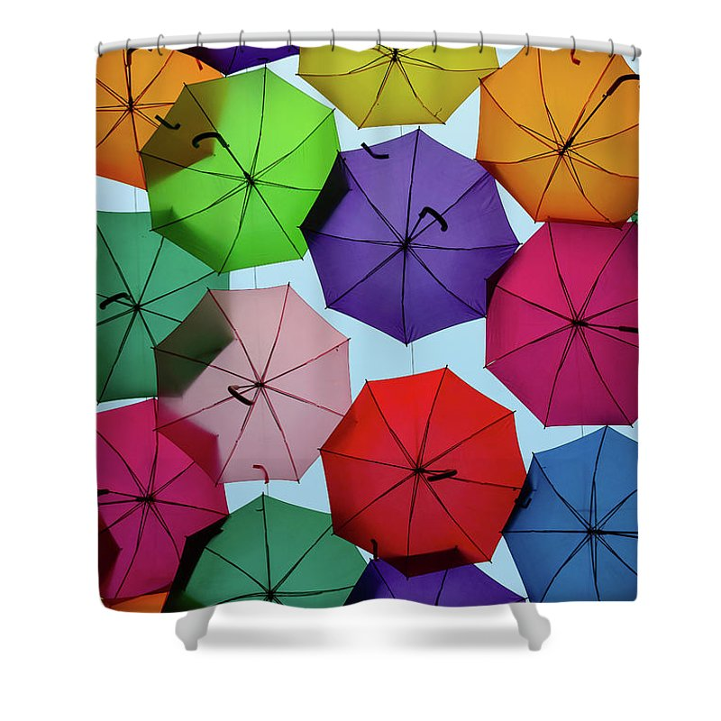 Umbrella Sky Shower Curtain featuring the photograph Umbrella Sky II by Marco Oliveira