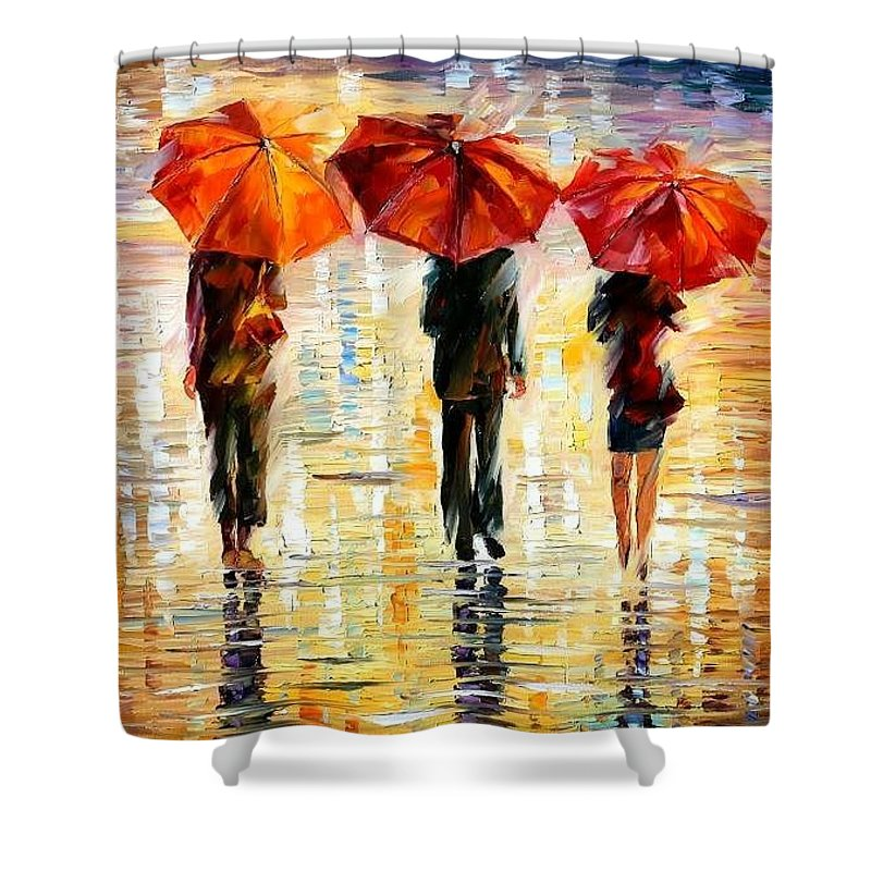 People Shower Curtain featuring the painting Umbrellas by Leonid Afremov