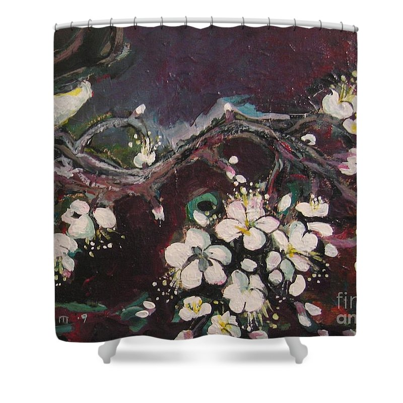 Ume Blossoms Paintings Shower Curtain featuring the painting Ume Blossoms by Seon-Jeong Kim