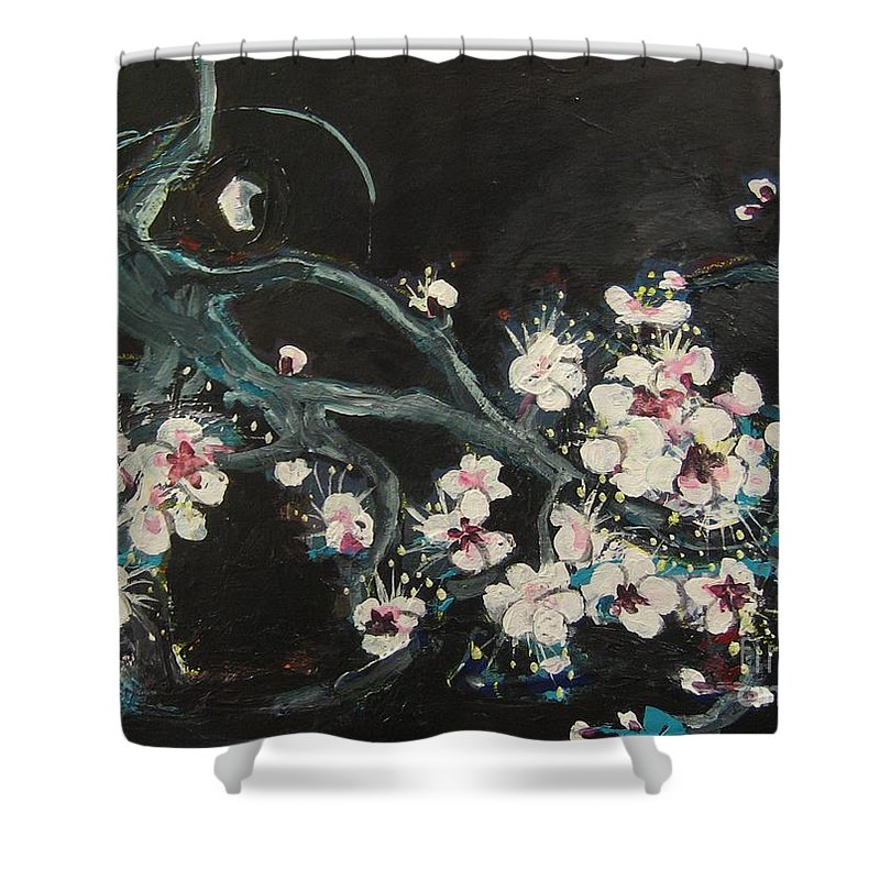 Ume Blossoms Paintings Shower Curtain featuring the painting Ume Blossoms2 by Seon-Jeong Kim