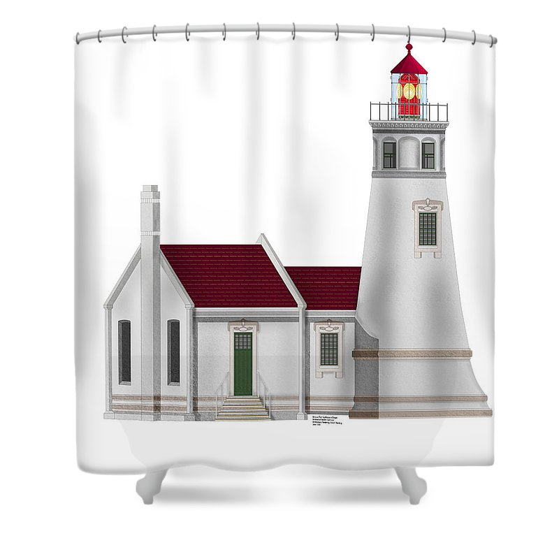Lighthouse Shower Curtain featuring the painting Umpqua River Lighthouse In Oregon by Anne Norskog
