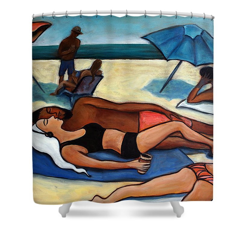 Beach Scene Shower Curtain featuring the painting Un Journee A La Plage by Valerie Vescovi