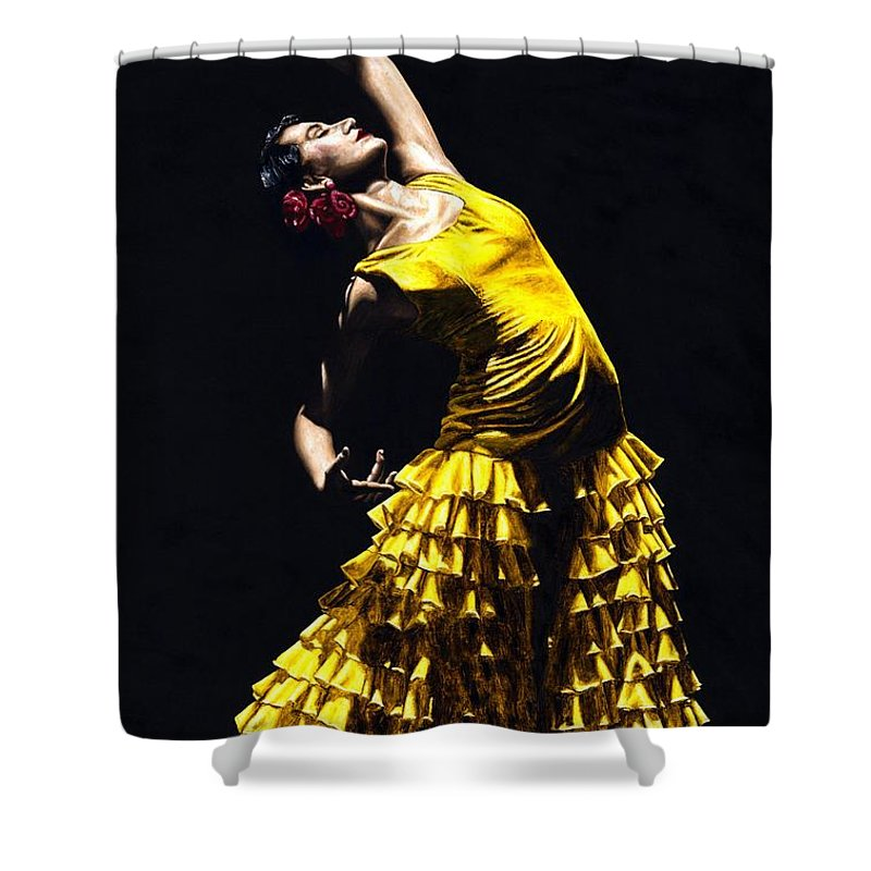 Flamenco Shower Curtain featuring the painting Un Momento Intenso Del Flamenco by Richard Young