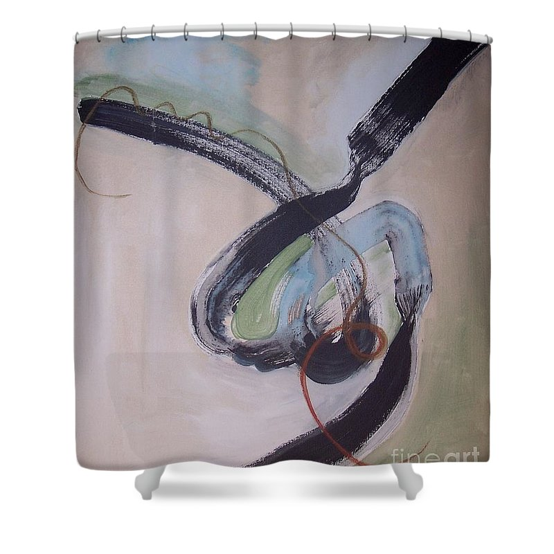 Abstract Paintings Shower Curtain featuring the painting Unaccustomed Thought-abstract Art by Seon-Jeong Kim
