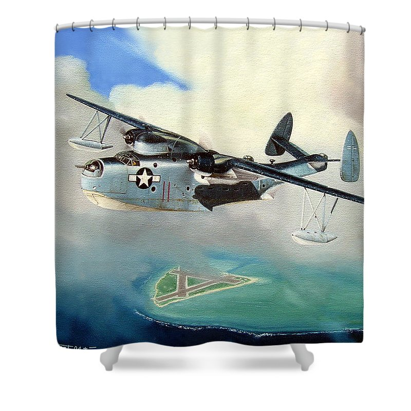 Military Shower Curtain featuring the painting Uncle Bubba's Flying Boat by Marc Stewart