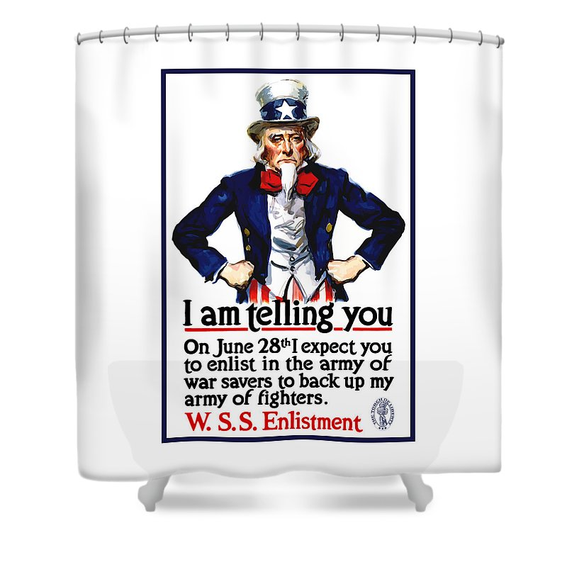 Uncle Sam Shower Curtain featuring the painting Uncle Sam -- I Am Telling You by War Is Hell Store